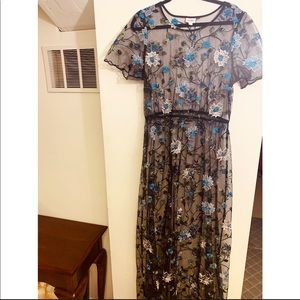 2XL Deanne Overlay Dress Black with Floral